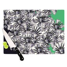 Inky Flowers on Green Cutting Board