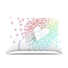 Rainbow Hearts Fleece Pillow Case