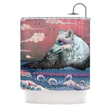 Lone Wolf Polyester Shower Curtain