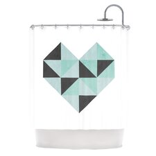 Geo Heart Polyester Shower Curtain