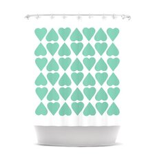 Diamond Hearts Polyester Shower Curtain
