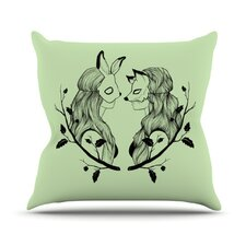 Foxy Buns Throw Pillow