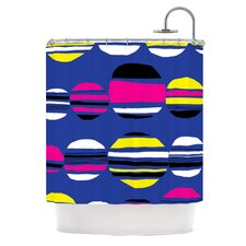 Retro Circles Polyester Shower Curtain