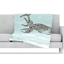 Elk Scene Fleece Throw Blanket