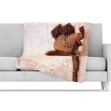 The Elephant with the Long Ears Fleece Throw Blanket
