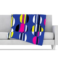Retro Circles Microfiber Fleece Throw Blanket