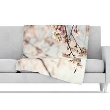 Japanese Blossom Microfiber Fleece Throw Blanket