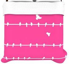 """Pink Birds"" Woven Comforter Duvet Cover"