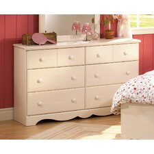 Summer Breeze White Wash Double 6-Drawer Dresser