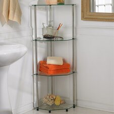 Classic Glass Four Tier Corner Shelf