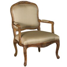 Hidden Treasures Hand-Carved Fabric Arm Chair