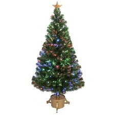 Fiber Optic 4' Green Artificial Christmas Tree with LED Muticolor Light with Stand