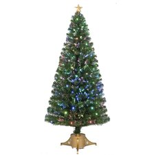 Fiber Optic 6' Green Artificial Christmas Tree with LED Muticolor Lights with Stand