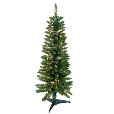 Pencil 4' Green Artificial Christmas Tree with 100 Pre-Lit Clear Lights