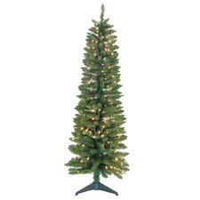 <strong>Jolly Workshop</strong> Pencil 5' Green Artificial Christmas Tree with 150 Pre-Lit Clear Lights