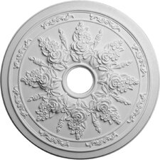 "Rose and Ribbon 23.63"" H x 23 5/8"" W x 1.5"" D Ceiling Medallion"
