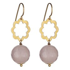 Fauceted Quartz Bead Drop Earrings