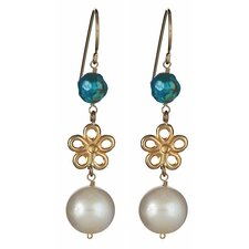 Flower Turquoise and Cultured Pearl Drop Earrings