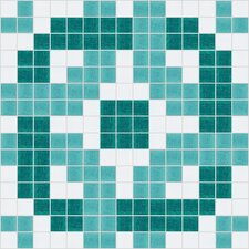 "Urban Essentials 12"" x 12"" Rounded Lattice Mosaic Pattern Tile in Deep Teal"