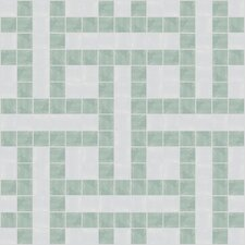 "Urban Essentials 12"" x 12"" Basket Weave Mosaic Pattern Tile in Placid Turquoise"