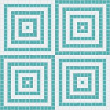 "Urban Essentials 12.48"" x 12.48"" Glass Concentric Squares Mosaic Pattern Tile in Deep Teal"