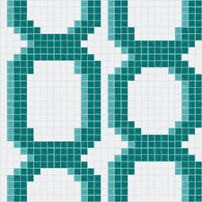 "Urban Essentials 12.48"" x 12.48"" Glass Varied Chains Mosaic Pattern Tile in Deep Teal"