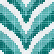 "Urban Essentials 24"" x 24"" Stylized Chevron Mosaic Pattern Tile in Deep Teal"
