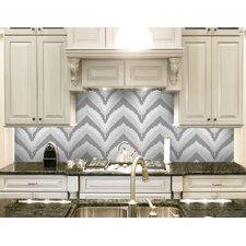 "Urban Essentials Stylized Chevron 3/4"" x 3/4"" Glass Glossy Mosaic in Calm Grey"