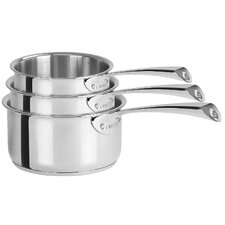 <strong>Cristel</strong> Casteline Fixed Handle Saucepans with Lids (Set of 3)