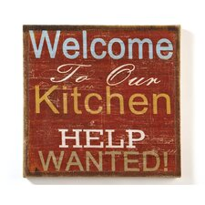 Welcome To Our Kitchen…Help Wanted Wall Sign