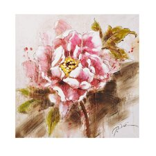 Pink Rose Painting Print on Canvas