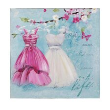 Dresses Painting Print on Canvas in Light Blue, White and Pink