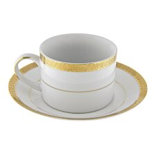 Luxor Gold Rim 8 oz. Teacup and Saucer (Set of 6)