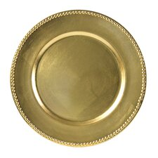 "Lacquer 13"" Beaded Round Charger Plate (Set of 4)"