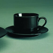Black Rim 6 oz. Teacup and Saucer