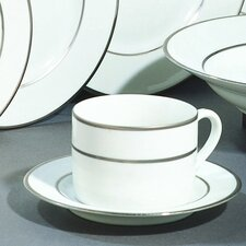 Double Silver Line 8 oz. Teacup and Saucer