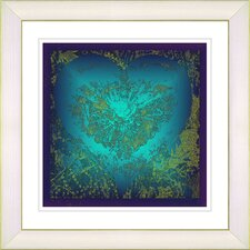 """Filigree Heart"" by Zhee Singer Framed Giclee Print Fine Art in Turquoise"