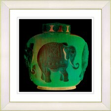 """Elephant Urn Jade"" by Zhee Singer Framed Giclee Print Fine Art in Green"