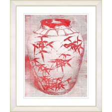 """Bamboo Urn - Red"" by Zhee Singer Framed Fine Art Giclee Print"