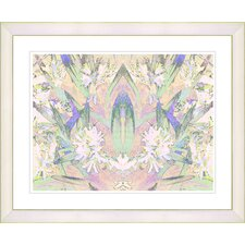 """Abstract Spring Floral - Yellow Peach"" by Zhee Singer Framed Fine Art Giclee Print"