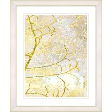 """Filigree Flower Branches - Gold"" by Zhee Singer Framed Fine Art Giclee Print"