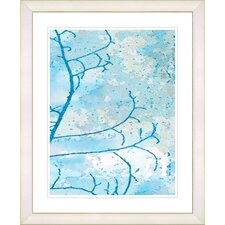 """Filigree Flower Branches - Turquoise"" by Zhee Singer Framed Fine Art Giclee Print"