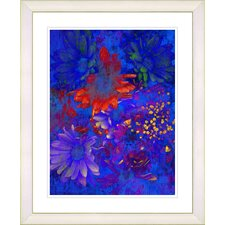 """Blue Abstract Daisies - Red"" by Zhee Singer Framed Fine Art Giclee Print"