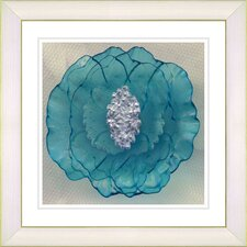 """Crystal Flower - Turquoise"" by Zhee Singer Framed Fine Art Giclee Print"