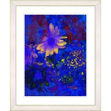 """Blue Abstract Daisies - Yellow"" by Zhee Singer Framed Fine Art Giclee Print"