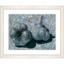 """Garlic - Blue"" by Zhee Singer Framed Fine Art Giclee Print"