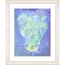 """Blue Dansing Bud - Ocean Blue"" by Zhee Singer Framed Fine Art Giclee Print"