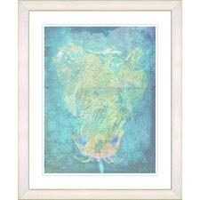 """Blue Dansing Bud - Turquoise"" by Zhee Singer Framed Fine Art Giclee Print"