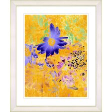 """Yellow Daisy Cups - Blue"" by Zhee Singer Framed Fine Art Giclee Print"