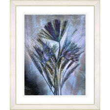 """""""Harvest Floral - Blue"""" by Zhee Singer Framed Fine Art Giclee Print"""